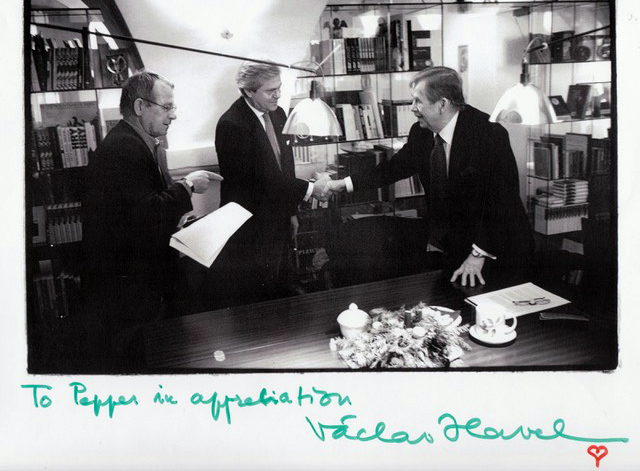 "Pepper and President Václav Havel – the inscription on the photo reads: ""To Pepper in appreciation Václav Havel"""